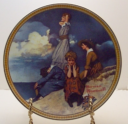 Waiting on the Shore-Norman Rockwell Plate