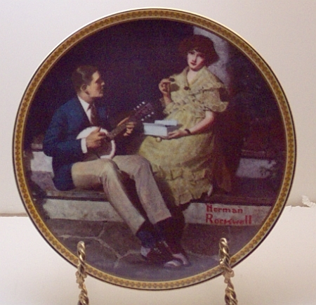 Pondering on the Porch-Norman Rockwell Plate