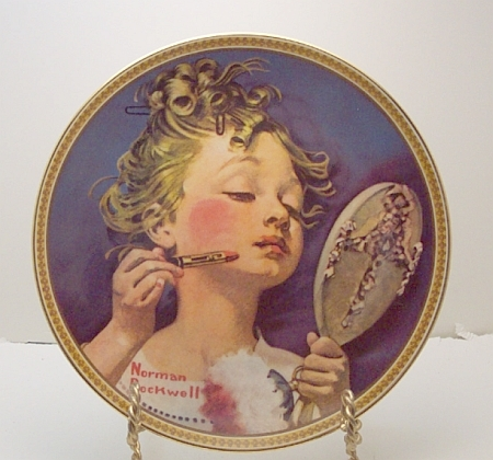 Making Believe in the Mirror-Norman Rockwell Plate