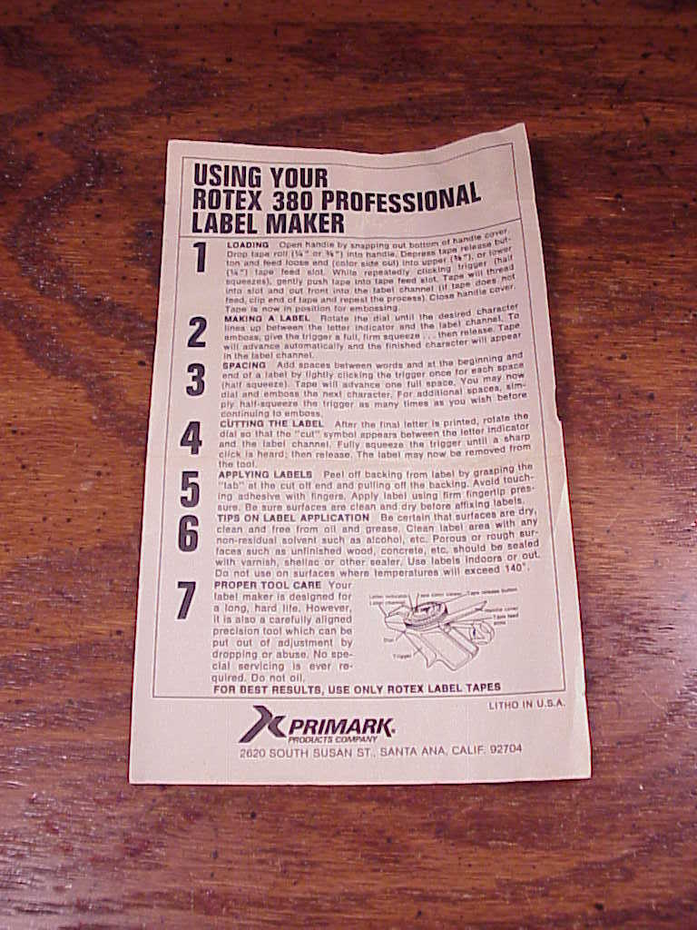 rotex label maker instructions