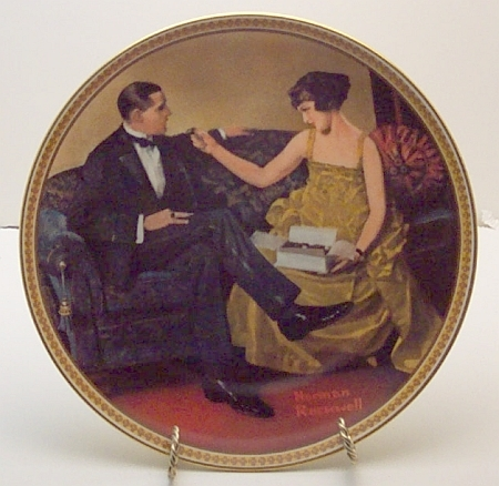Flirting in the Parlor-Norman Rockwell Plate