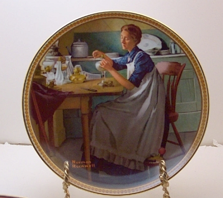 Working in the Kitchen-Norman Rockwell Plate