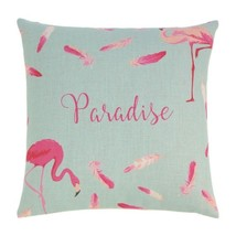 """Tropical Pink Flamingos & Feathers Decorative Accent Pillow  17"""" x 17"""" S... - $12.82"""