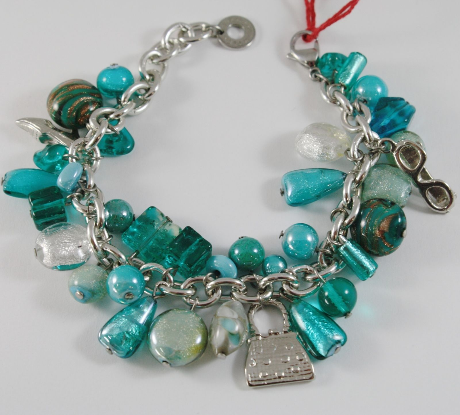 ANTICA MURRINA VENEZIA MARILENA BRACELET GREEN AND EMERALD PENDANTS CHARMS