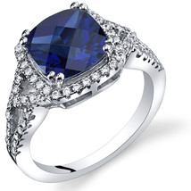 Women's Sterling Silver Cushion Cut Halo Blue Sapphire Ring - $124.92 CAD