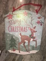 merry Christmas plaque sparkle reindeer - $21.34