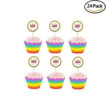 Finduat Unicorn Cupcake Toppers And Wrappers Party Cake Decoration Doubl... - $26.64