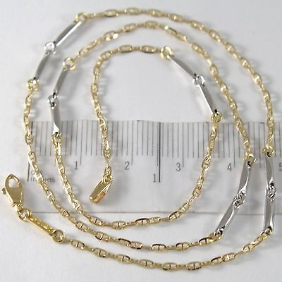 18k YELLOW WHITE GOLD CHAIN NECKLACE, TUBE & NAVY MARINER ALTERNATE LINK, BRIGHT