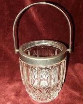 Vintage Crysttal Bucket with Silver Plated Top and Handle - $39.59