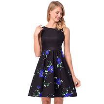 AOVEI Blue Rose Print Black Vest 50s A Line Flared Casual Sweet Pleated Dress - $24.99