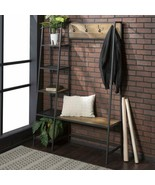 Rustic Oak Metal Wooden Hall Tree Coat Rack Storage Shelves Stand Entryw... - $232.55