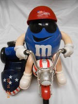 M&M'S BLUE FREEDOM RIDER MOTORCYCLE CANDY DISPENSER PATRIOTIC COLLECTIBL... - $20.78