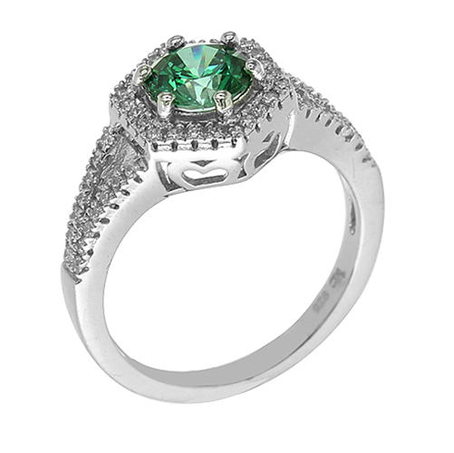 TRENDY STERLING SILVER FASHION RING WITH SWAROVSKI ELEMENTS & GREEN AAA CZ