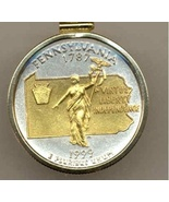 State of Pennsylvania, 2-Toned, Gold on Silver, U.S, Quarter Pendant Nec... - $85.00