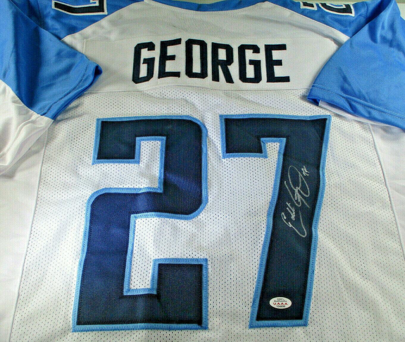 EDDIE GEORGE / AUTOGRAPHED TENNESSEE TITANS WHITE CUSTOM FOOTBALL JERSEY / COA