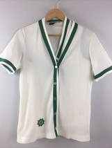 Vtg Twinset Green White Stage 7 Anchor Polyester Short Sleeve Cardigan 2... - $15.25