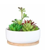 SQOWL 6 inch Modern White Ceramic Round Succulent Planter Pot with Bambo... - $14.11