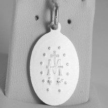 SOLID 18K WHITE GOLD MIRACULOUS MEDAL, VIRGIN MARY, MADONNA, 1.1 MADE IN ITALY image 2