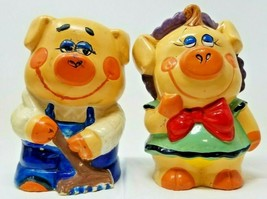 Vintage 1940s Mr Mrs Pig Farmer Ceramic Bank Multi Color - $29.69