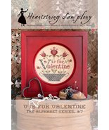 V is for Valentine cross stitch chart Heartstring Samplery - $9.00