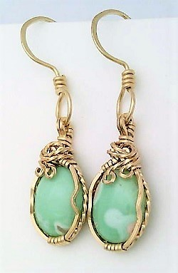 Primary image for Variscite Gold Wire Wrap Earrings 10
