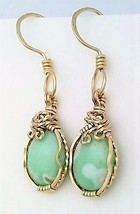 Variscite Gold Wire Wrap Earrings 10 - £34.58 GBP