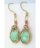 Variscite Gold Wire Wrap Earrings 10 - £36.13 GBP