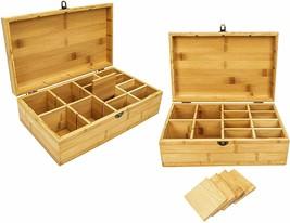 Bamboo Tea Box Tea Chest Adjustable 16 Compartments Tea Storage Holder O... - $19.79