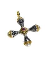 Gerochristo 5272 - Gold, Silver & Ruby Medieval Byzantine Cross Pendant  - $600.00