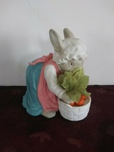 Vintage department 56 Ceramic Bunny Rabbit With Basket Of Carrots 1988 A... - $28.04