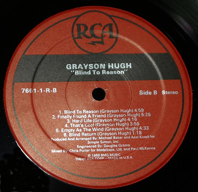 "Grayson Hugh  ""Blind To Reason""   LP"