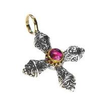 Gerochristo 5274 - Gold, Silver & Tourmaline Medieval Byzantine Cross P... - $265.00