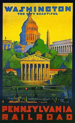 Primary image for 1935 Washington DC - Pennsylvania Railroad - Travel Advertising Poster