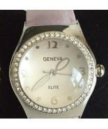Geneva Elite Silver Tone Pink Band Watch New Battery #1159G Bubble Magni... - $9.89