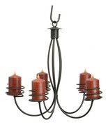 5 ARM WROUGHT IRON PILLAR CANDLE CHANDELIER Amish Handmade Colonial Cand... - $186.17