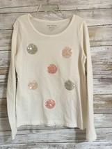 Joe Fresh Cream Long sleeve with embellished Dots design for girls Size 7-8 - $8.91