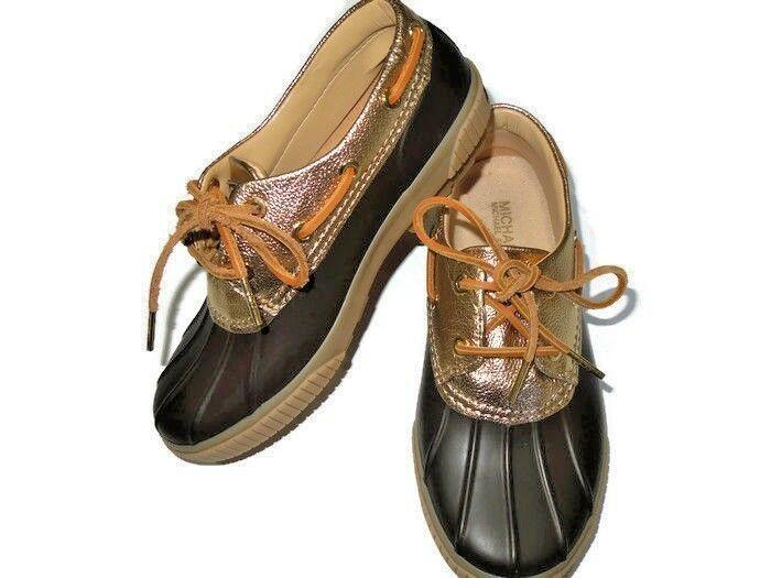 MICHAEL KORS Hyde Waterproof Duck Shoe Brown GOLD Size 6 - $71.49