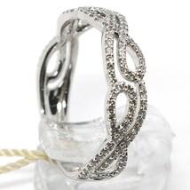 18K WHITE GOLD BAND RING, DIAMONDS CT 0.33, CROSSED INFINITE, BRAID, ONDULATE image 2
