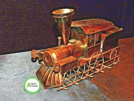 Metal Train Engine Music Box AA19-1504 Vintage image 3