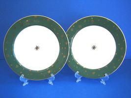 Sakura Galaxy Green 2 Salad Plates 14kt Gold Porcelain - $16.20