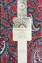 Cynthia Rowley Easy Care Fabric Holiday Tablecloth Christmas Floral Pais... - $74.34
