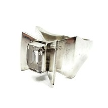 Designer Signed 925 Sterling Silver Brutalist Winged Face CZ Ring Size 5.25 - $148.49