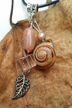 Fairy Whispers necklace: pink beads & natural snail shell, beautiful - $34.00