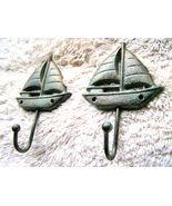 TWO Cast Iron Sailboat Hooks, Hat, Key Rack, Indoor Outdoor Garden or Ba... - $9.98