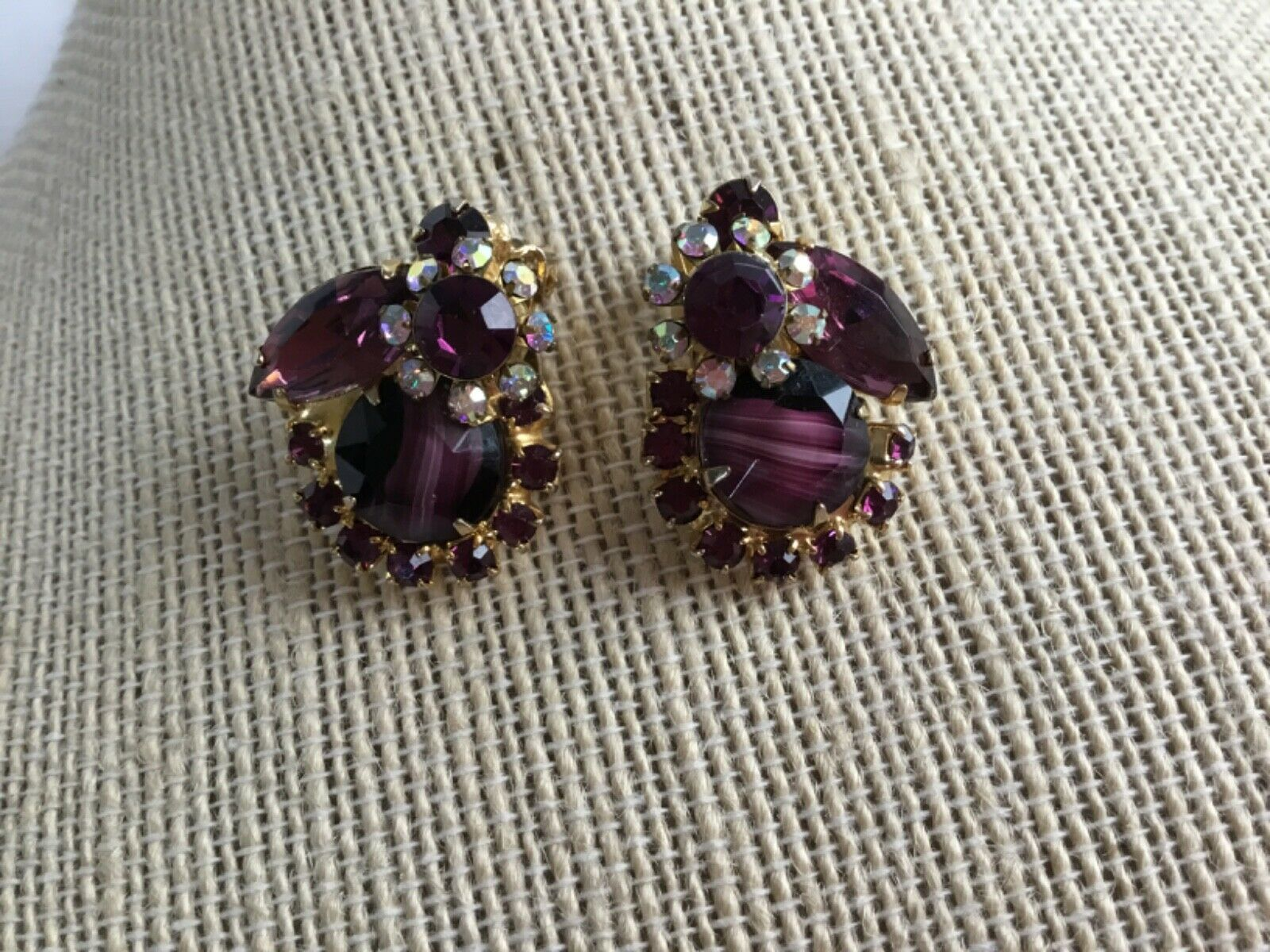 Primary image for Vintage D&E Juliana Purple Art Glass AB Rhinestone Clip Earrings