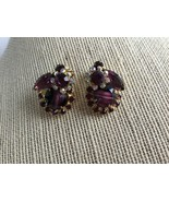 Vintage D&E Juliana Purple Art Glass AB Rhinestone Clip Earrings - $46.89