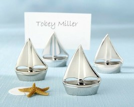 Shining Sails Sailboat Wedding Reception Silver Place Card Holder Favor ... - $5.98