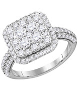 14k White Gold Round Diamond Cluster Bridal Wedding Engagement Ring 1-5/... - £1,739.52 GBP