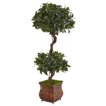 4.5' Sweet Bay Double Topiary Tree in Metal Planter - €139,46 EUR