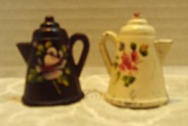 Vintage Miniature Metal Tea Pot Salt & Pepper Shakers // Hand Painted Shabby  - $9.50